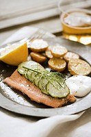 Trout Dinner with Cucumber and Potatoes