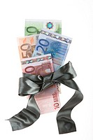 Euro bank notes tied in a ribbon, symbolizing a money gift