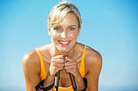 attractive blond woman nordic_walking