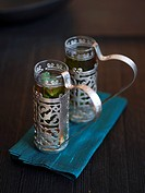 Peppermint tea in Middle Eastern glasses
