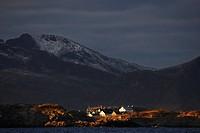 Henningsvaer from the sea, Norway, Lofoten Islands, Vagan