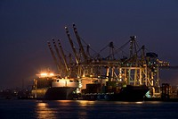 container ships in Hamburg harbour, Germany
