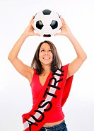 young woman in red top with scarf and soccer ball _ Austrian soccer fan