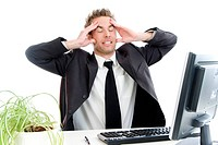 businessman with headaches in the office