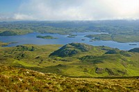 view from Stac Pollaidh over Loch Sionascaig, mountains and moorland, United Kingdom, Scotland, Highlands, Inverpolly Natur Reserve