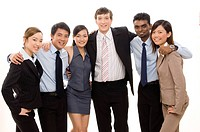 A happy and confident business team of young diverse people