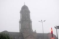 church with fog, storm, Germany, Berlin