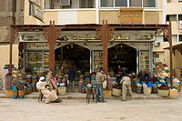 Characteristic shop at the Sharia as-Souq, Bazar, Aswan or Assuan, Nile Valley, Egypt, Africa