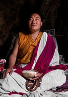 LUNDUP DORJE the LAMA KHARPO or White Robed Monk has been meditating in caves for 18 years _ TERDROM NUNNERY, China, Tibet