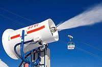 snow gun in Val d´Isère ski resort, France, Alps