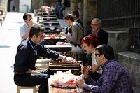 Street café Talva on the main shopping street Istiklal Caddesi in the Beyoglu district, Istanbul, Turkey