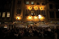 Germany, Bavaria, Munich, Outdoor cafe at night