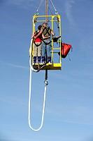 Bungee jumping from the pier, Scheveningen, The Hague, The Netherlands, Europe