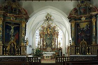St. Georg Church altar with its Rosary Madonna, Auerberg, Bavaria, Germany, Europe