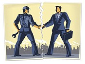 Illustration, worker and manager shaking hands