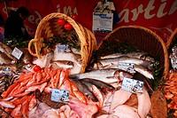 Fish vendor at the Place Maubert market, Quartier Latin, Paris, France, Europe