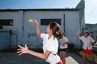 Schoolgirls playing a version of baseball in Cienfuegos, Cuba, Caribbean, Americas