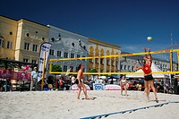 Competition for a beach volleyball cup on the main square of Muehldorf am Inn, Upper Bavaria, Bavaria, Germany, Europe