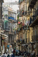 Narrow street in the historic centre of Palermo, Sicily, Italy