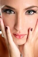 Beautiful fashion woman thinking expression over black background
