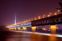 China, Hubei Province, Wuhan, Wuchang, Wuhan Yangtze River Bridge, Nightlife