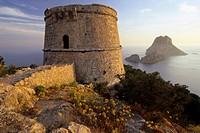 watchtower Torre des Savinar at the viewpoint Mirador des Savinar, Spain, Balearen, Ibiza