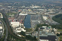 Neusser-Duesseldorfer inland port with car terminal and container terminal, Neuss, Nord Rhine-Westfalia, Germany