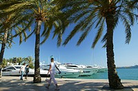 Yachts in Puerto Portals harbour, Majorca, Balearic Islands, Spain