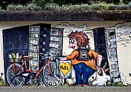 mural, person collecting deposit bottles, Germany, North Rhine_Westphalia, Ruhr Area, Marl