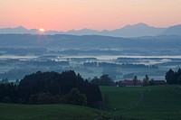 View from Auerberg at sunrise, near Bernbeuren, Allgaeu, Upper Bavaria, Bavaria, Germany