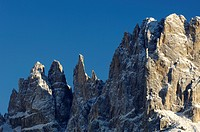 Mountain landscape in Winter with the Vajolet towers, Tiers, Karerpass, Rosengarten Group, Eggental valley, South Tyrol, Italy