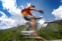 Mountainbike tour through Vinschgau with the Vinschger Railway, Rail and Bike, Vinschgau, South Tyrol, Italy