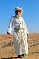 old bedouin man in Wahiba sands,Sultanate of Oman,Arabian Peninsula,southwest Asia