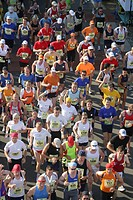 Runners at the marathon in the rhine valley, Rhineland-Palatinate, Germany Europe