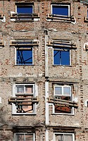 Construction site with facade of old building, Munich, Bavaria, Germany