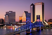Florida, Jacksonville, Saint St  Johns River, John Alsop Bridge, Main Street Bridge, downtown, Jacksonville Landing, city skyline, Modis Building, sky...