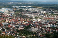 View over the city of Singen with the Lake of Constance in the background (Germany).