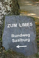 Stone plate with the inscription to the limes curcuit Saalburg at limes, Taunus, Hesse, Germany, UNESCO world heritage