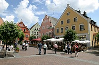 Erding, DEU, 09. Juliy 2005 - Pedestrian precinct at Kleiner Platz in the Erding city centre