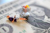 symbol woman with shopping cart lying on a Dollar bill
