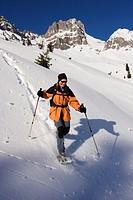 Snowshoe walker the Dachstein Mountains, Filzmoos, Salzburg, Austria, Europe
