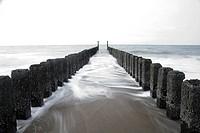 Waves against bollards, Haamstede, Schouwen-Duiveland, Zeeland, Netherlands, Europe
