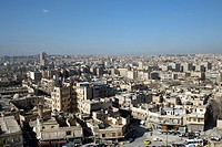 Aerial view of Aleppo on a sunny day with blue sky, Syrian, Near East, Asia
