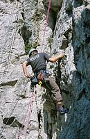 Rock climber on Peilstein Lower Austria Austria
