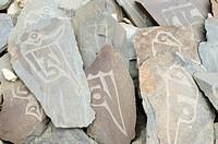 Buddhist mani stone in Ladakh, Jammu and Kashmir, India