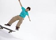 Young man skateboarding