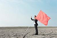 flag, mud flat, Hwa_Sung_Si, gyeonggi_do, korea, south korea, Oriental, Eastern people, asian