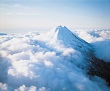Mountain peak above clouds