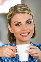 woman drink a cup coffee tea