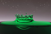 A drop of green water forming a coronet as it splashes into a glass full of liquid, backlit for contrast